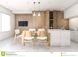 Kitchen With Bar Design 3d Rendering Wood White Minimal Kitchen With Bar Stock