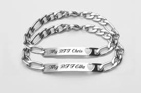Personalized Silver Bracelets Engraved Silver Best Friends Id Heart Bracelet Set U003e Engraved