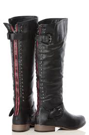 womens black leather moto boots black faux leather studded knee high rider boots cicihot boots