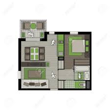 top view of interior of a small two rooms apartment with living top view of interior of a small two rooms apartment with living room bedroom