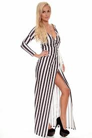 white black strip wrap around long sleeves maxi dress maxi
