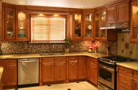 Cherry Wood Kitchen Cabinets Decor U0026 Tips Window Blinds And Oak Kitchen Cabinets With Mosaic