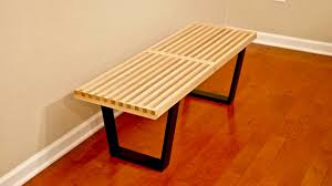 diy mid century modern slatted bench woodworking youtube