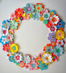 diy paper flower spring wreath with tutorial link ideas from
