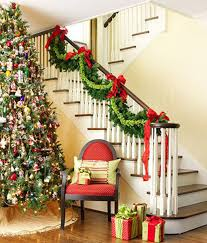 christmas home decorations ideas adorable custom theme stairs wreath and tree christmas decorating