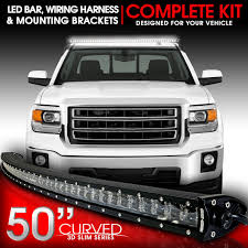 led lights for 2014 gmc sierra led light bar curved 288w 50 inches bracket wiring harness kit for
