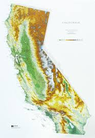 State Map Of California by Raised Relief Map Of California