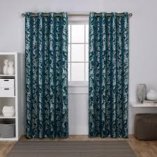 Silver Window Curtains Watford Peacock Blue Silver Distressed Metallic Print Thermal