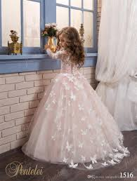 butterfly flower girls dresses 2017 pentelei with long sleeves and
