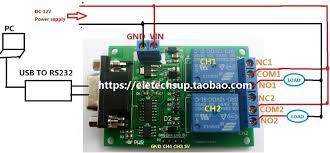 aliexpress com buy 2 channel serial port relay module dc 12v pc