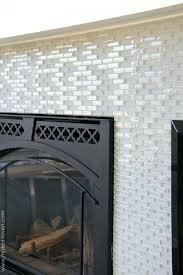 glass mosaic tile around fireplace surround how to install