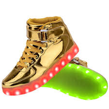 led light up shoes for adults women high top usb charging led light up shoes flashing sneakers gold