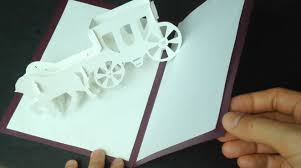 3d wedding carriage card pop up paper tutorial youtube