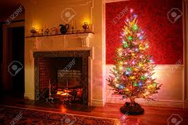 Decorate Christmas Tree Colored Lights by Christmas Fireplace Stock Photos Royalty Free Christmas Fireplace