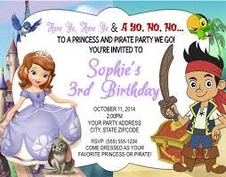 sofia jake neverland birthday party invitations