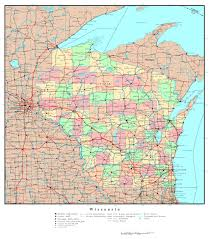 Wisconsin Lake Maps by Large Detailed Administrative Map Of Wisconsin State With Roads