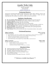 Resume For Medical Office Receptionist Customer Service And Billing Resume