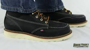 thorogood boots 814 6201 men u0027s black moc toe usa made boots youtube