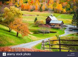 vermont farmhouse fall foliage new england countryside at woodstock vermont farm