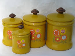 vintage metal kitchen canisters 70 s vintage metal kitchen canisters retro flower power daisies
