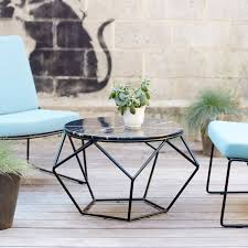 Metal Garden Table And Chairs Uk Tikamoon Marble And Metal Outdoor Round Coffee Table