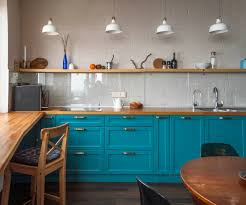 blue kitchen cabinets with wood countertops 75 beautiful kitchen with turquoise cabinets and wood