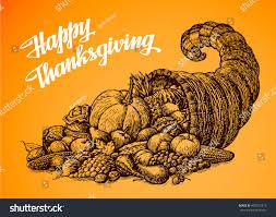thanksgiving cornucopia clipart thanksgiving day hand drawn vector illustration stock vector