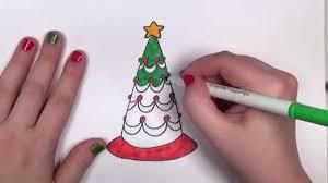 how to draw a cartoon christmastree cc youtube