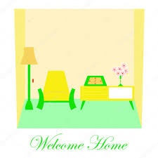 welcome home illustration with cute colorful living room interior