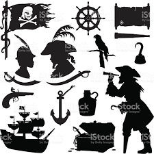 pirate silhouettes including ship treasure chest parrot rum