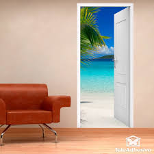 open door beach and palm tree wall stickers open door beach and palm tree