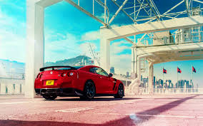 hd background nissan gt r red color rear view sportscar wallpaper