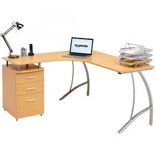 Piranha Corner Computer Desk Home Office Corner Laptop Table W Drawers Piranha Furniture Beech