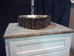 Log Vanity Hand Crafted Concrete Log Vanity Sink With Stamped Concrete Top