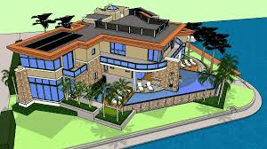 3d rendering of a custom modern luxury home on the waterfront