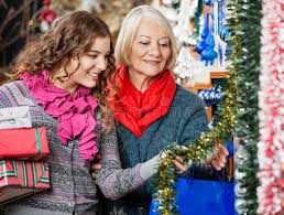 Mother Daughter Christmas Ornaments Mother And Daughter Buying Christmas Decorations Royalty Free