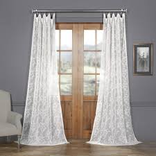 Patterned Sheer Curtains Scroll Patterned Faux Linen Sheer Curtain