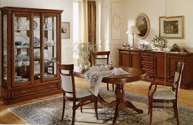 italian dining room sets sets brown varnished wood chair white arm