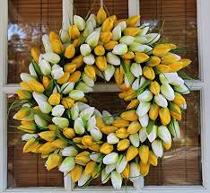 Tulip Wreath Amazon Com Yellow And White Tulip Spring Door Wreath 19 Inch