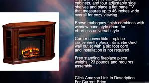 sei claremont media console with electric fireplace brown