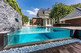 Small Garden Pool Ideas Simple Water Curtain On Wall And Pool In Backyard Pool
