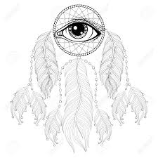 hand drawn bohemian dreamcatcher with eye native american indian