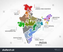 India Map World by Indian Map Concept Infographic Template States Stock Vector