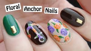 floral anchor nail art easy and cute youtube