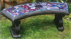 memorial benches stained glass benches concrete benches nanaimo bc vancouver