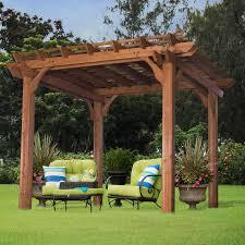sonoma 12 x 16 ft arched wood pergola redwood hayneedle