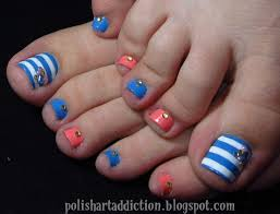 blue nail art toe nail art cool striped design blue white pink
