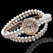 pearl bracelet watches images Luxury pearl rhinestone bracelet watch women lady bling crystal jpg