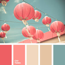 a palette consisting of rather calm tones pink and coral match