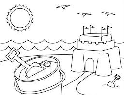 Playing Sand Castle On Summertime Coloring Page Download Print Sandcastle Coloring Page